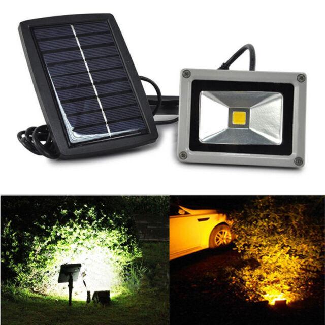 Solar Powered 10W LED Flood Night Light Garden Spotlight Waterproof Lamp Outdoor