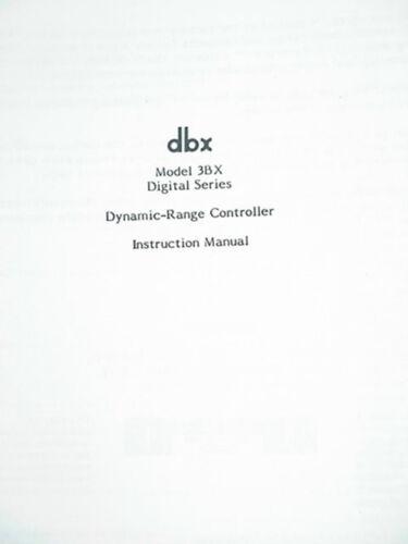 dbx 3BX-DS DYNAMIC RANGE EXPANDER OWNER/'S MANUAL 12 Pages