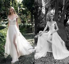 2016 New Chiffon Beach Wedding Dress Applique White Ivory Bridal Gown 4 6 8 10++
