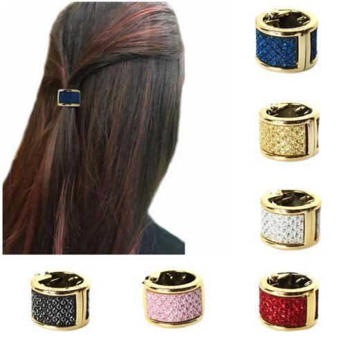Mini Haarklammer Glitzer Haarring Haarspange half up half down in 6 Farben