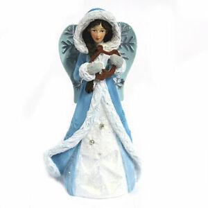 AngelStar Peace Winter Angel Figurine, Light Blue