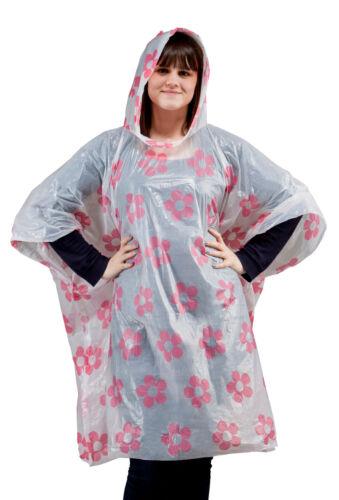 Pink Flower Emergency Rain Poncho Mac Coat x 5 Waterproof Festival Event