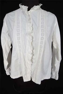 RARE VINTAGE FRENCH 1920'S-1930'S WHITE COTTON EMBROIDERED TRIM BLOUSE SZ 38-40
