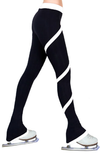 Ice Figure Skating Dress Practice Polar Fleece Spiral Trousers Pants White