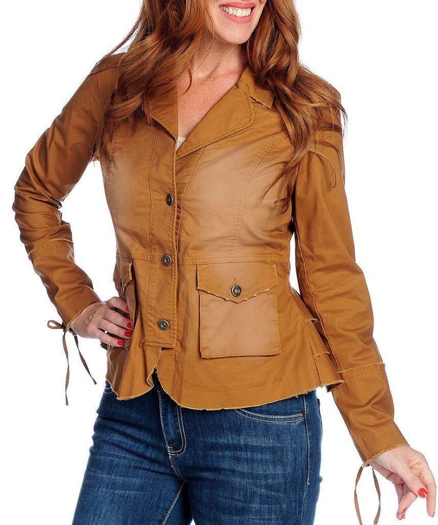 NEW - Indigo Thread Co.™ Woven Twill Ruffled Back Lace-up Detail Frayed Jacket