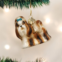 Old World Christmas Shih Tzu Dog Glass Christmas Ornament 12172