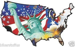 USA EAGLE AND STATUE STICKER UNITED STATES MAP FLAG BUMPER STICKER ...