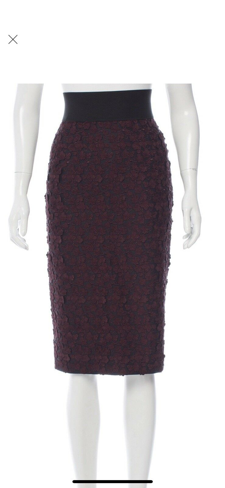 Marc Jacobs 10 Floral Applique Burgundy  Skirt