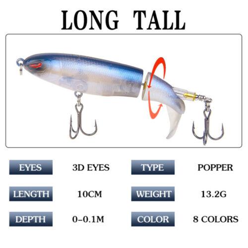 Minnow Fishing Lure Rotating Tail Whopper Popper Topwater Swim Crankbait New