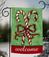Toland - Candy Cane Welcome - Christmas Ribbon Red Stripe Garden Flag