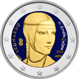 2-Euro-Gedenkmuenze-Italien-2019-Da-Vinci-coloriert-mit-Farbe-Farbmuenze-2