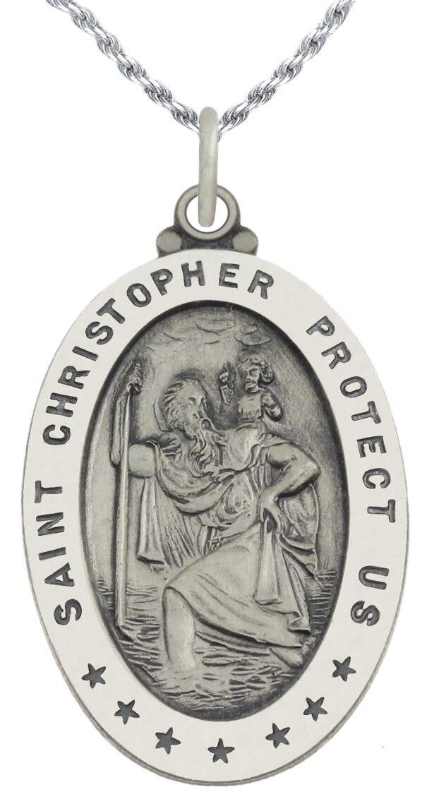24 Mm De Plata Esterlina St Saint Christopher Colgante Para Collar /& Bolsa De Regalo