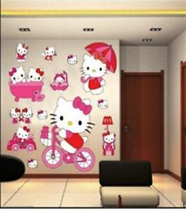 Image Is Loading LARGE HELLO KITTY WALL STICKERS FOR KIDS CHILDREN