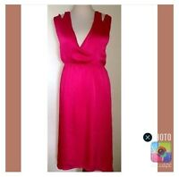 Alex & co størrelse 40 lang rød kjole viskose blå blomster