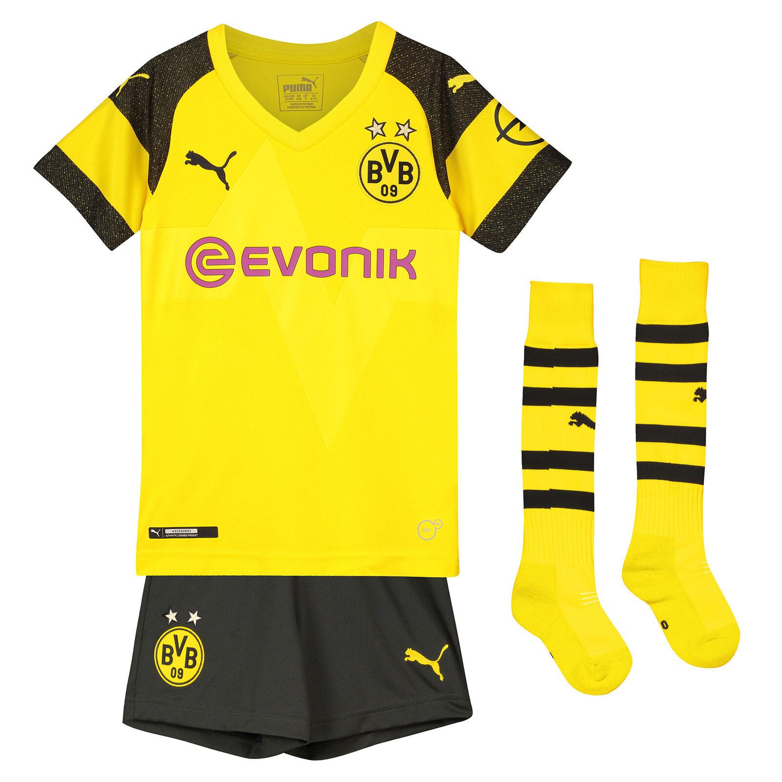 BVB Borussia Dortmund Offiziell Heim Mini Kit 2018-19 Kinder Puma Fußball Trikot