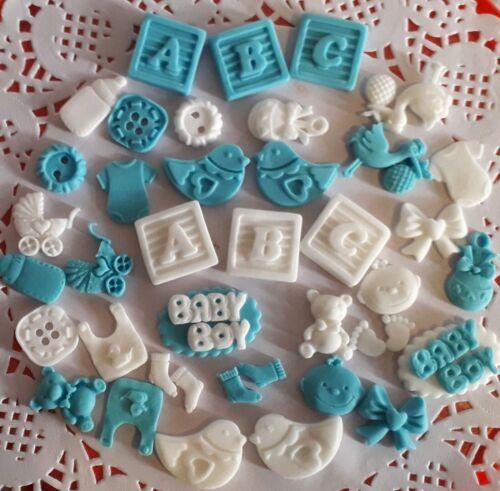 40 Edible Blue Baby Boy Sugar Christening Shower Cake Cupcake Decorations Topper