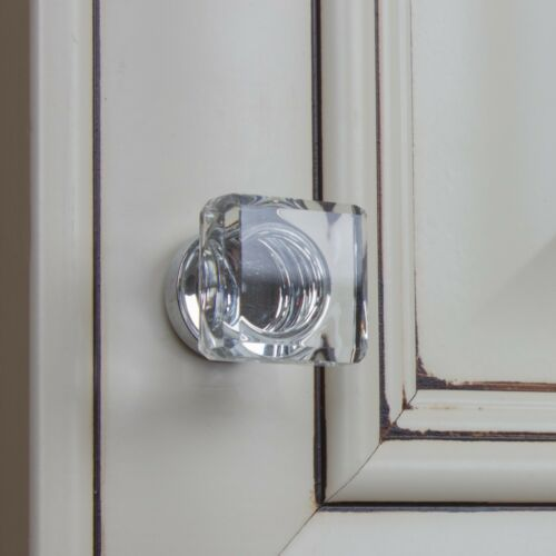 """GlideRite 1/"""" Square Glass Cabinet Knob 900025-PC-1"""