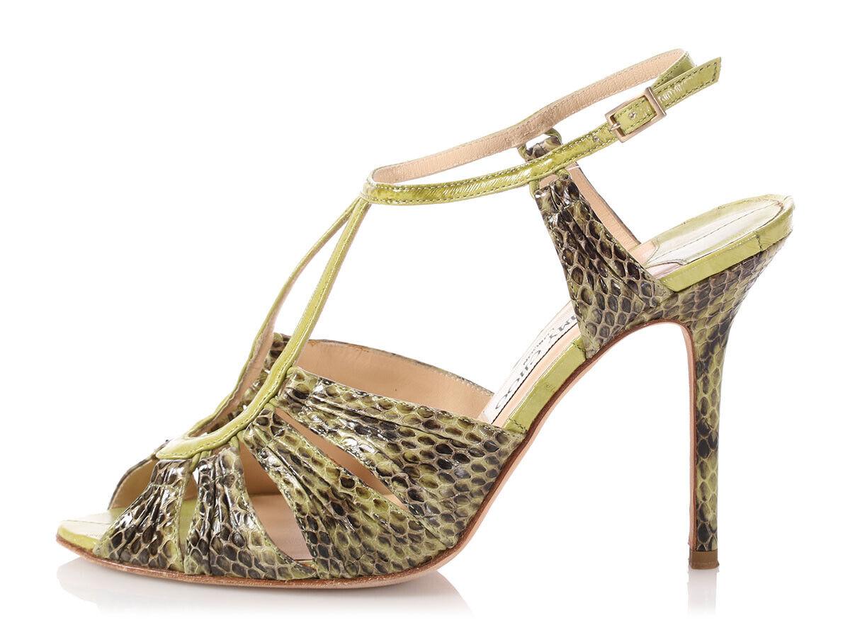 JIMMY CHOO Lime Green Speckled Snakeskin Raven Sandals, Size 38.5 8 Retail  895