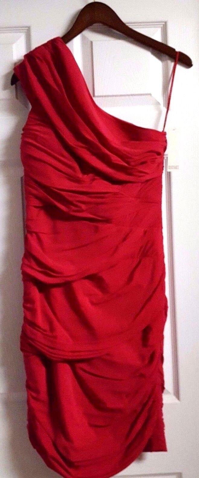 Ladies NWT BADGLEY MISCHKA one shoulder ruched cocktail dress size 6