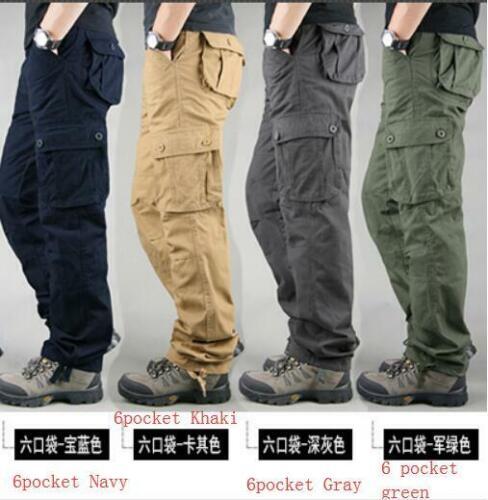 Mens outdoor multi-pocket overalls mens trousers loose fit zipper cotton pants