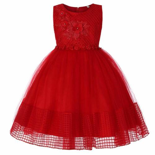 Kids Girls Lace Bowknot Princess Wedding Performance Formal Tutu Skirt ClothesUK