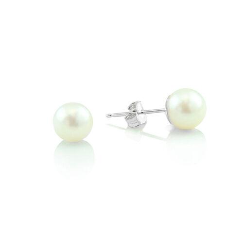 14K or Blanc Rivets Blanc avec les perles de culture 7 mm