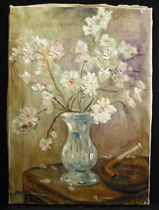 Ravissement M Ratier Bouquet De Fleurs Blanches & Pipe C1920 White Flowers Paint Still Life éLéGant Et Gracieux