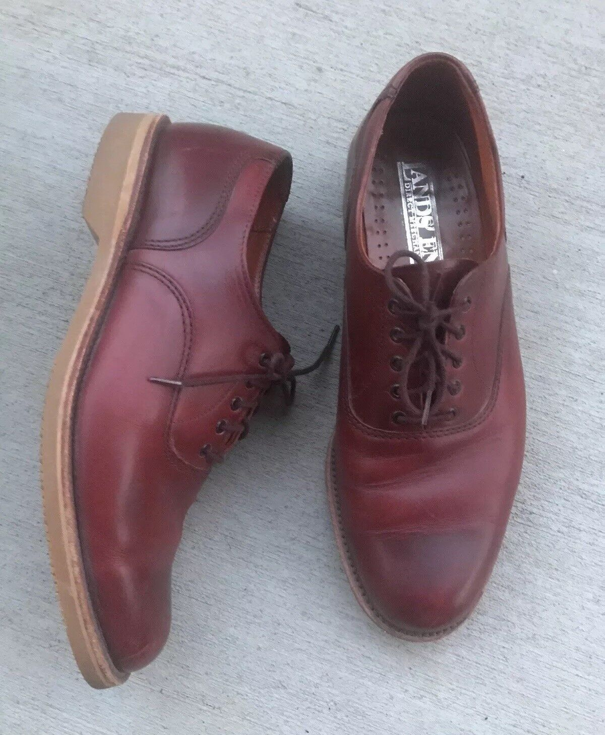 Mens Lands' End Direct Merchant Whisky Red Leather Lace Up Vibram Soles 9 W