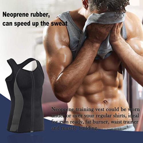 Men/'s Neoprene Sauna Vest Sweat Workout Shirt Body Shaper Slimming Zip Tank Tops