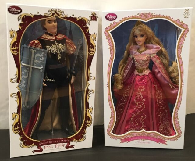 "NIB Disney Store Limited Edition 17"" Dolls Pink Aurora Sleeping Beauty & Phillip"