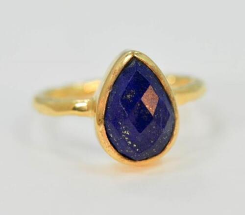 Natural lapis lazuli septembre Pierre de naissance 18K Argent Plaqué Or Anneau #ME502