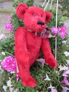 VINTAGE-MOHAIR-TEDDY-BEAR-RARE-RUBY-RED-ARTIST-TAG-BETH-ANN-BEARS-WOODLAND-PLACE