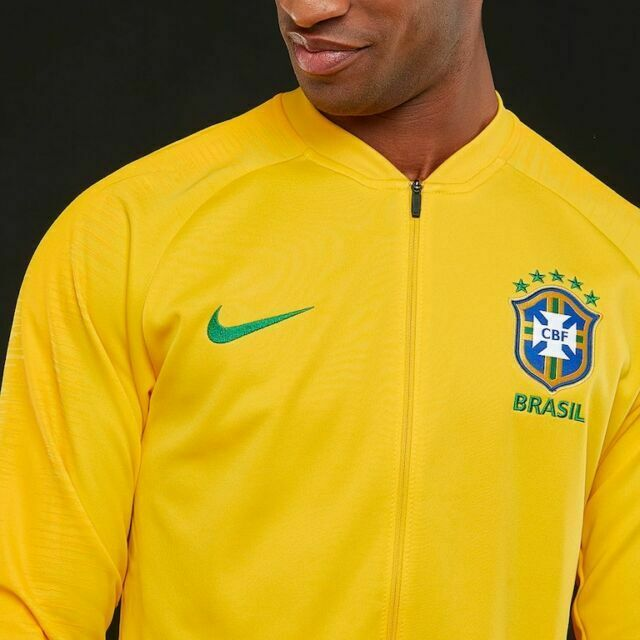 Nike Brasil Brazil 2018 Anthem Jacket World Cup Training Sz M Yellow 893584-749