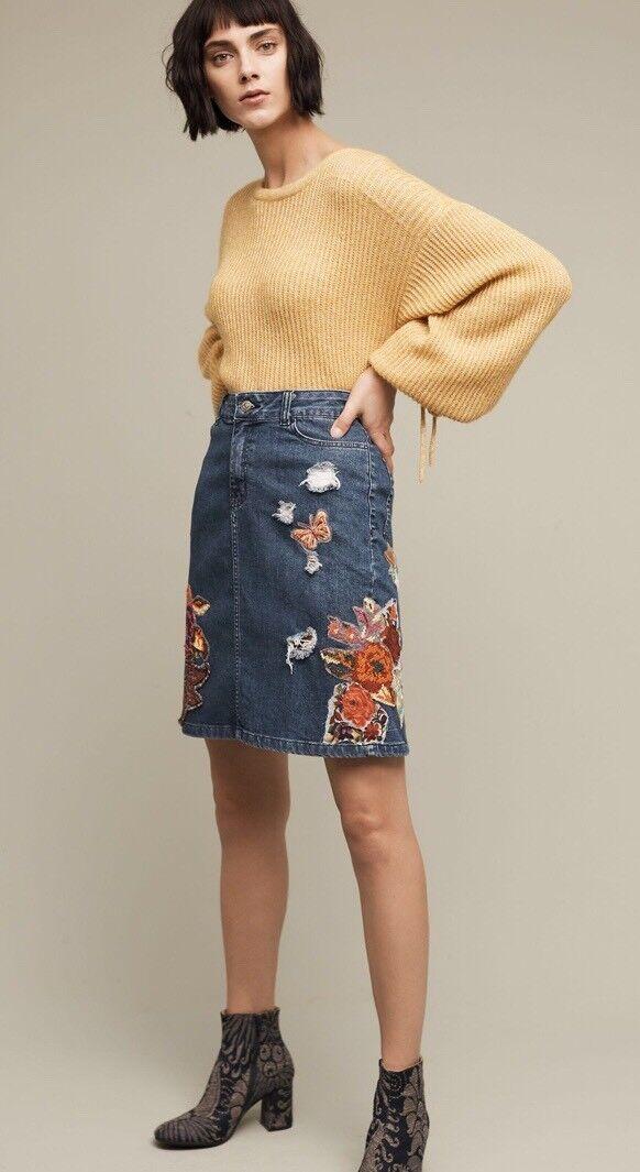NWT Anthropologie Gardener's Denim Embellished Skirt Cecilia Prada XS