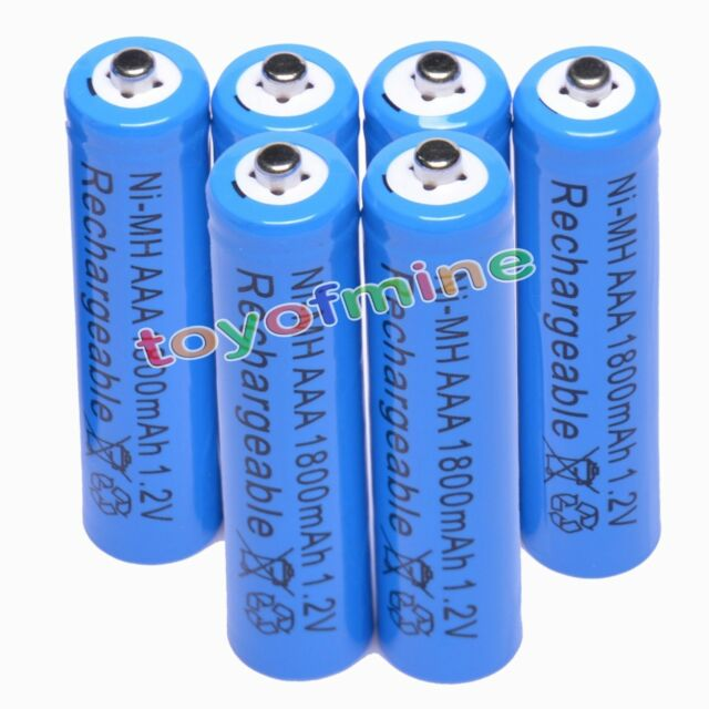 6pcs AAA 1800mAh 1.2V Ni-MH Rechargeable battery 3A Blue Cell for Camera RC Toys