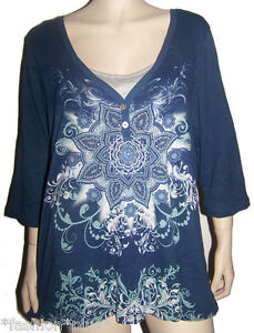 Plus-Size-Top-Purple-Navy-3-4-Sleeve-Casual-Comfy-NWT-18-20-24-28-32