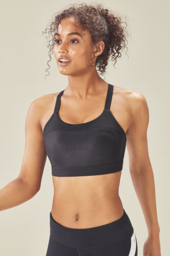 Fabletics Athletic Adele High Support Shine Sports Bra S 4-6 L 10-12 Black New