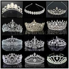 Wedding Bridal Crown Crystal Rhinestone Princess Pageant Silver Jewelry Tiara
