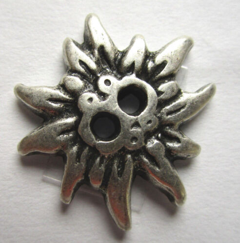 Trachtenknopf Trachtenknöpfe 2 Loch Metall Edelweiss 2 Größen echt versilbert
