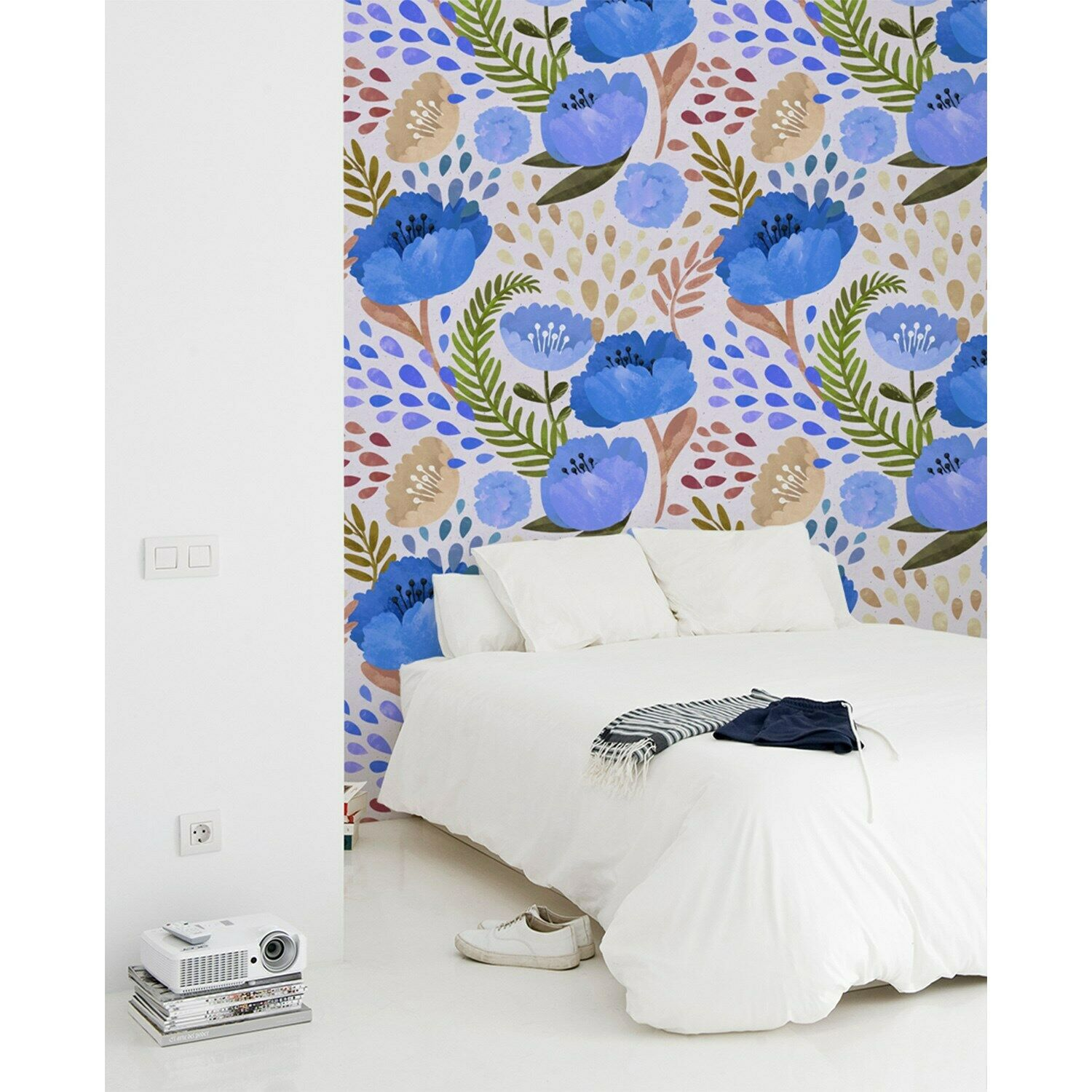 Poppy wall Home Mural Vintage floral Roll traditional Non-Woven wallpaper Decor