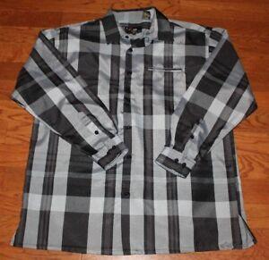 Henri-Valdise-Men-039-s-Shirt-XL-Black-White-Gray-Plaid-Long-Sleeve-Button-Down