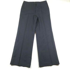 Talbots Womens 10 Linen Blend Pants Dark Navy Blue Straight Wide Leg NWT