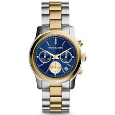*NEW* MICHAEL KORS RUNWAY LADIES WATCH MK6165 - BLUE DIAL TWO TONE CHRONOGRAPH