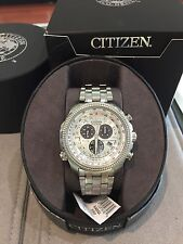 NIB MEN'S CITIZEN ECO DRIVE STAINLESS STEEL CHRONOGRAPH WATCH BL5400-52A