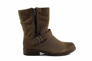 Therapy-ABBEY-Pull-On-Zip-Buckle-Strap-Studs-Ankle-Boot-Taupe-Size-5-7