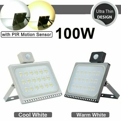 LED Floodlight PIR Motion Sensor 10//20//30//50//100W Security Warm Cool Flood Light