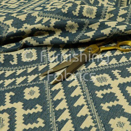 Nuevo Azul Crema Color Kilim Azteca tradicional patrón de tejido de mobiliario tema