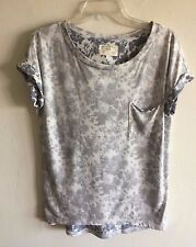 SOL ANGELES Reverse Print Short Sleeve Knit Floral Tee Shirt Top Women's S NWOT