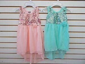 87ef62f5d20 Girls Pogo Club Light Pink or Aqua Mini-Maxi Dress w/ Sequin Bodice ...