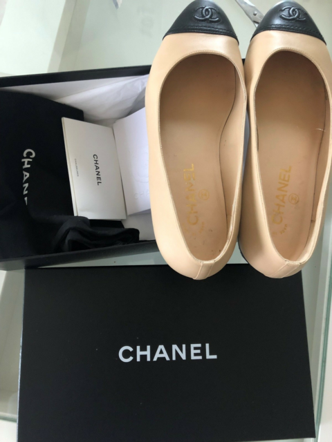 Ballerinasko, str. 38,5,  Chanel,  Beige og sort,  Skind,…